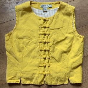Vintage Ann Taylor military yellow vest size6